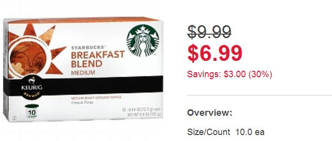Walgeens Starbucks Kcups deal